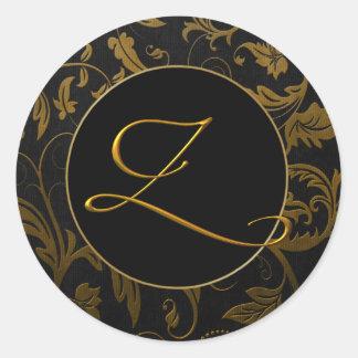 Gold des Monogramm-Z und schwarzes Runder Aufkleber