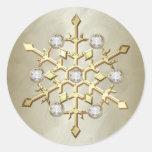Gold Diamond Christmas Holiday Snowflake Sticker