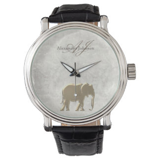 Gold Elephant with Monogram | Marble Vintage Watch