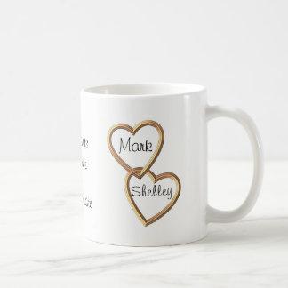 Gold entwirrte Herzen und Blumen Sentimental Kaffeetasse