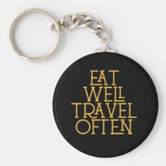 Gold essen gut Reise-häufig inspirierend Zitat Schlüsselanhänger