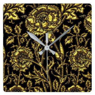 Gold farbiges Muster auf Schwarzem Quadratische Wanduhr