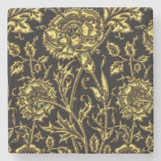 Gold farbiges Muster auf Schwarzem Steinuntersetzer
