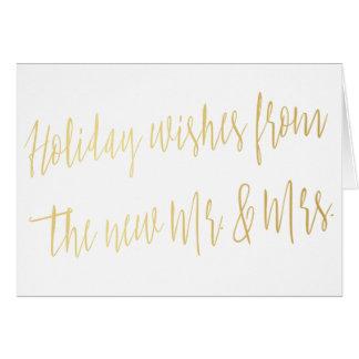 """Gold """"Feiertage wünscht vom neuen Herrn u. von der Karte"""