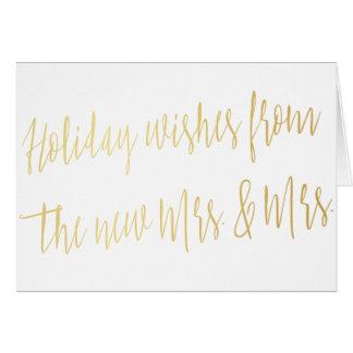 """Gold """"Feiertage wünscht von der neuen Frau u. von Grußkarte"""