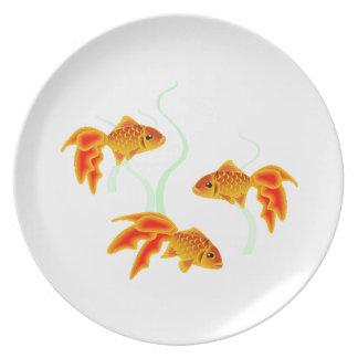 Gold Fishies Melaminteller