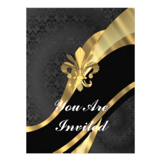 Gold Fleur de Lys auf schwarzem Damast