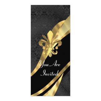 Gold Fleur de Lys auf schwarzem Damast 10,2 X 23,5 Cm Einladungskarte