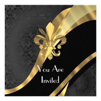 Gold Fleur de Lys auf schwarzem Damast Individuelle Ankündigungskarte