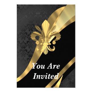 Gold Fleur de Lys auf schwarzem Damast Individuelle Ankündigskarten