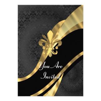 Gold Fleur de Lys auf schwarzem Damast Personalisierte Ankündigungskarte