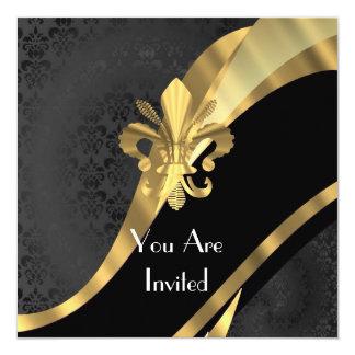 Gold Fleur de Lys auf schwarzem Damast Quadratische 13,3 Cm Einladungskarte