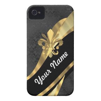 Gold Fleur de Lys auf Schwarzem iPhone 4 Case-Mate Hülle