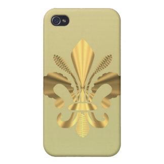 Gold Fleur de Lys Etui Fürs iPhone 4