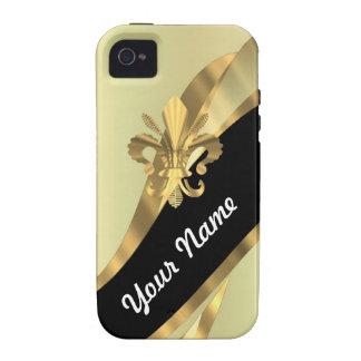 Gold Fleur de Lys personalisiert iPhone 4 Cover