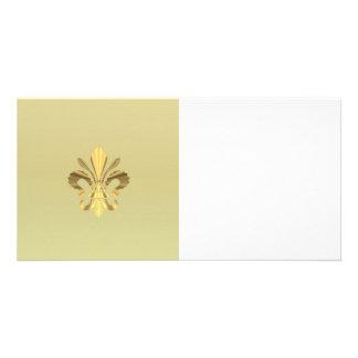 Gold Fleur de Lys Personalisierte Photo Karte