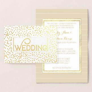 Gold Foil Typography Confetti Wedding Invitations Folienkarte