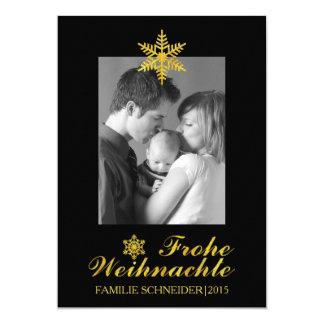 Gold Frohe Weihnachten u. Schneeflocke schwarzes 12,7 X 17,8 Cm Einladungskarte