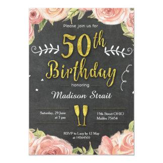 Gold fünfzig und fabelhafte Geburtstags-Party 12,7 X 17,8 Cm Einladungskarte