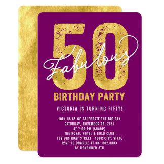 Gold fünfzig und fabelhaftes 50. Geburtstags-Party 12,7 X 17,8 Cm Einladungskarte