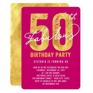 Gold fünfzig und fabelhaftes 50. Geburtstags-Party Karte