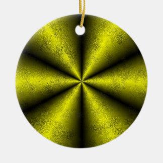Gold - gelb - schwarz Regenbogen Keramik Ornament