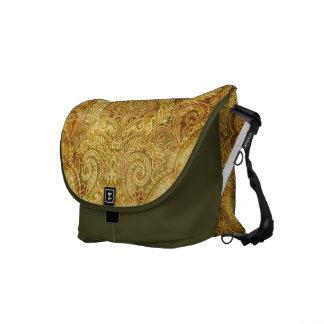 Gold, Gelb schwarze Botetasche mit Verzierung Kurier Tasche