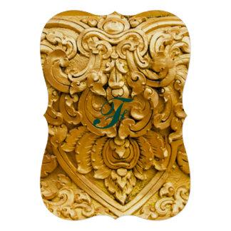 Gold gemalt, antike hölzerne Arbeit, Vintag, 12,7 X 17,8 Cm Einladungskarte
