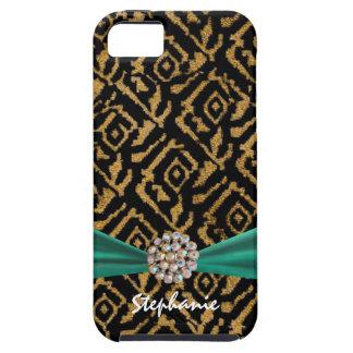 Gold gesponnenes Gewebe mit Band und diamante de Tough iPhone 5 Hülle