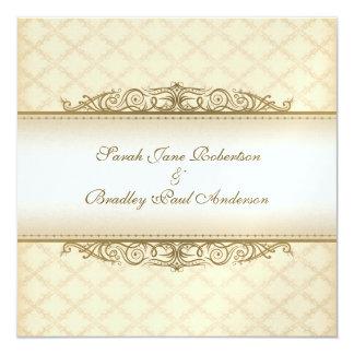 Gold gesteppte Druck-barocke Hochzeits-Einladungen Quadratische 13,3 Cm Einladungskarte