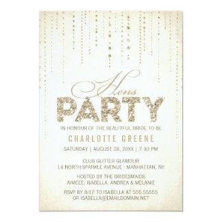"Gold Glitter Look Hens Party Invitation 5"" X 7"" Invitation Card"