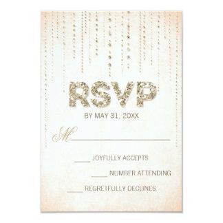 "Gold Glitter Look Wedding RSVP Card 3.5"" X 5"" Invitation Card"