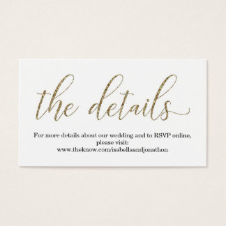 Gold Glitter Wedding Website Info Enclosure Card Visitenkarte