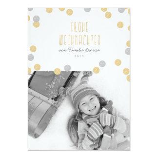 Gold Glitzern Foto Weihnachtskarte 12,7 X 17,8 Cm Einladungskarte