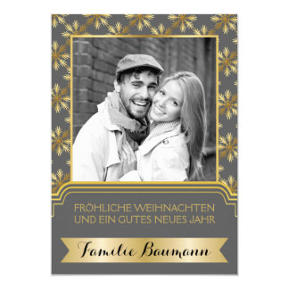 Gold, grey snowflake Frohe Weihnachten photo 12,7 X 17,8 Cm Einladungskarte
