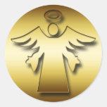 GOLD GUARDIAN ANGEL ROUND STICKER