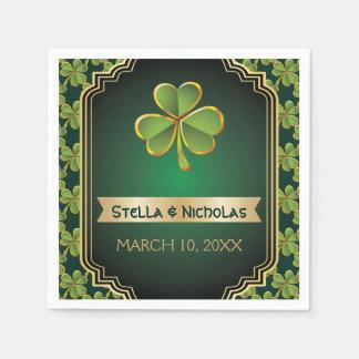 Gold, irischer Klee des Grüns und Rahmenhochzeit Papierserviette