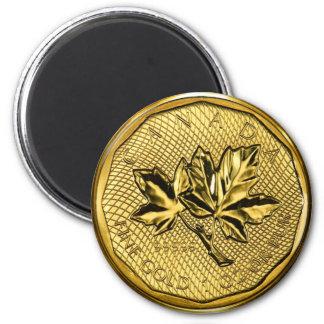Gold Kanada-Ahornblatt-1oz Runder Magnet 5,1 Cm