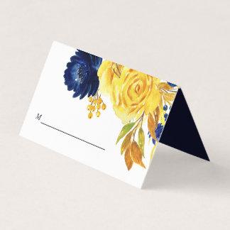 Gold-Marine-Blau-Blumenhochzeit Platzkarte