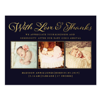 Gold mit Liebe-u. Dank-Baby-Foto-Postkarte Postkarte
