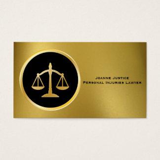 Gold mit Skalen der Gerechtigkeits-Visitenkarten Visitenkarten