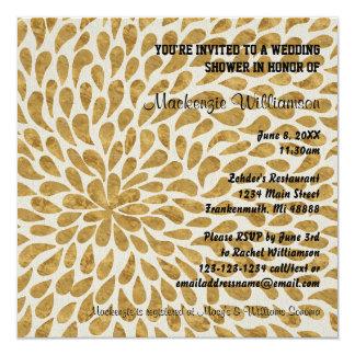 Gold modernes Chyrsanthemum - Polterabend laden Karte