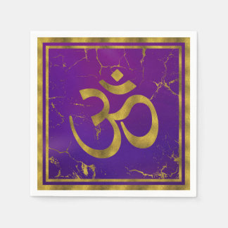 Gold-OM-Symbol - Om, Omkara auf Lila/Indigo Papierserviette