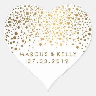 Gold punktiert Confetti Wedding | Herz-Aufkleber