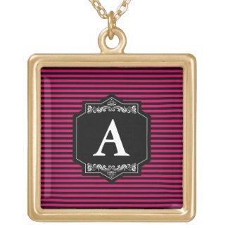 Gold Quadrates Halsband Streifen Pink Monogramm Vergoldete Kette