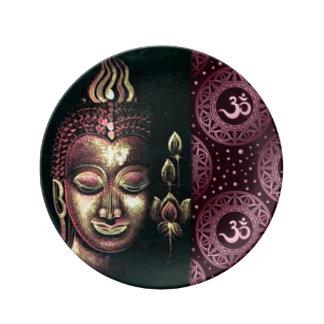 Gold rosa Buddha u. Krone Chakras Symblos Teller