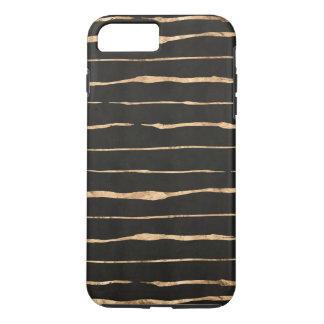 Gold-Rose Streifen auf dunkelgrauem Hintergrund iPhone 8 Plus/7 Plus Hülle