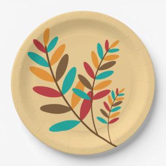 Gold, Rot, aquamarin, Brown-Herbstlaub Pappteller