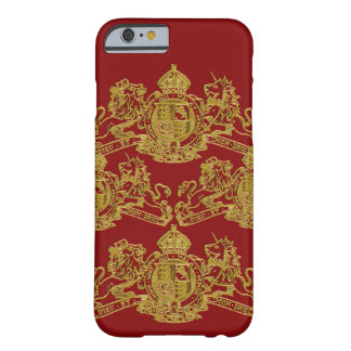 Gold rotes Dieu und Montagdroit-britisches Wappen Barely There iPhone 6 Hülle