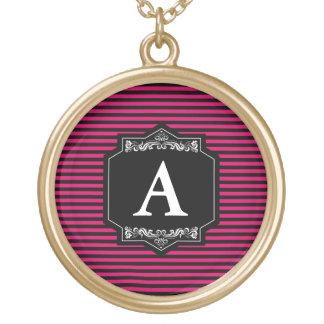 Gold Rundes Halsband Streifen Pink Vergoldete Kette